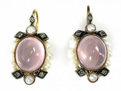 69462-January/Rose Quartz Earrings Cynthia Findlay Antiques CFA1211106C