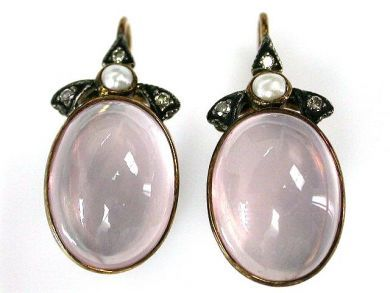69462-January/Rose Quartz Earrings Cynthia Findlay Antiques CFA1211130C