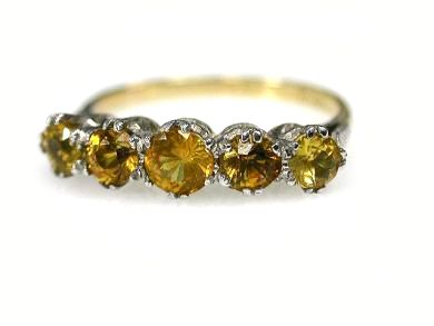 Vintage 5 Yellow Sapphire Ring