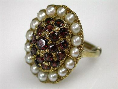 69537-January/Garnet and Pearl Cluster Cynthia Findlay Antiques CFA1211375