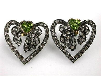 69537-January/Peridot Heart Earrings Cynthia Findlay Antiques CFA1211190