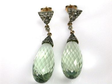 Vintage Inspired Prasiolite and Diamond Drop Earrings