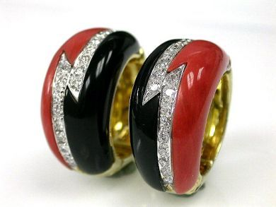 69795-January/Coral and Onyx Earrings CFA1212154