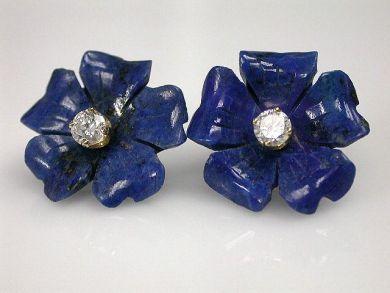 69795-January/Lapis and Zirconia Earrings Cynthia Findlay Antiques CFA1212132