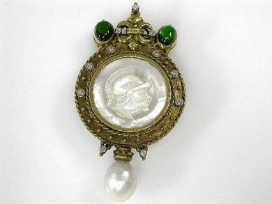 69795-January/Mother Of Pearl Intaglio Brooch CFA1212173