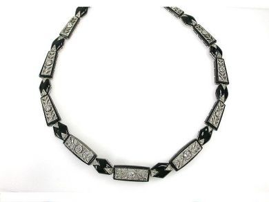 69795-January/Onyx and Diamond Necklace Cynthia Findlay Antiques CFA1212176