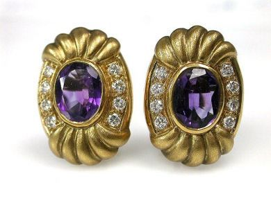 69994-January/Amethyst and Gold Earrings Cynthia FIndlay Antiques CFA1212304