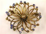 Sapphire Openwork Floral Brooch