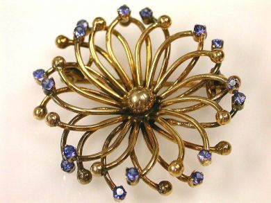 69994-January/Sapphire Openwork Floral Brooch Cynthia Findlay Antiques CFA1201144