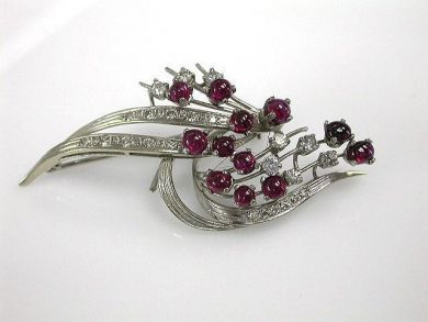 Ruby and Diamond Spray Brooch