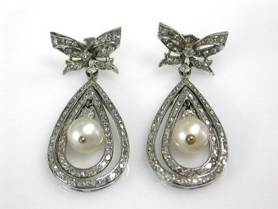 70024-January/Vintage Pearl and Diamond Earrings Cynthia Findlay Antiques CFA1212313
