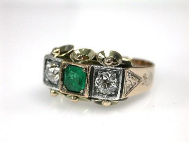 70326-February/Emerald and Diamond Ring Cynthia Findlay Antiques CFA1210381