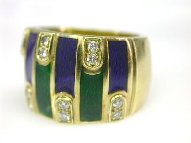 70397-February/Diamond Enamel Ring Cynthia Findlay Antiques CFA130244