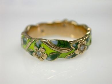 70397-February/Floral Enamel band Cynthia Findlay Antiques CFA130254