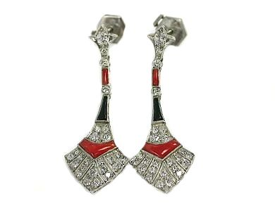 Art Deco Inspired Diamond Onyx Coral Earrings