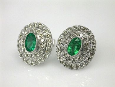 70649-March/Emerald Halo Earrings Cynthia Findlay Antiques CFA130306