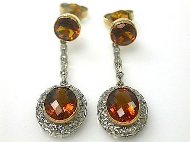 70714-March/Citrine and Diamond Earrings at Cynthia Findlay Antiques CFA1303133C