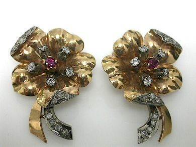 70714-March/Retro Floral Earrings Cynthia Findlay Antiques CFA1303120