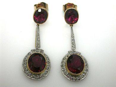 Vintage Inspired Red Tourmaline and Diamond Earrings