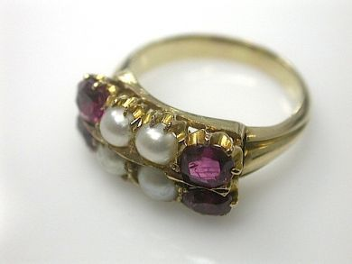 70714-March/Ruby and Pearl Victorian Ring Cynthia Findlay Antiques CFA1303138C