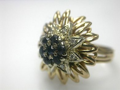 70714-March/Sapphire Cluster Ring Cynthia Findlay Antiques CFA1303144