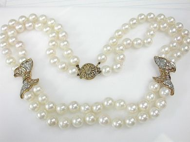 70857-March/Double Strand Pearl Necklace Cynthia Findlay Antiuqes CFA1303226  2