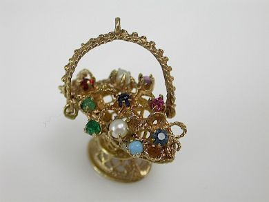 70857-March/Flower Basket Charm Cynthia Findlay Antiques CFA1303205