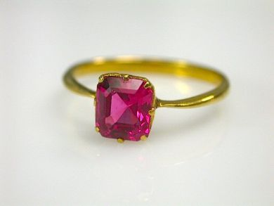 Antique Red Spinel Solitaire Ring