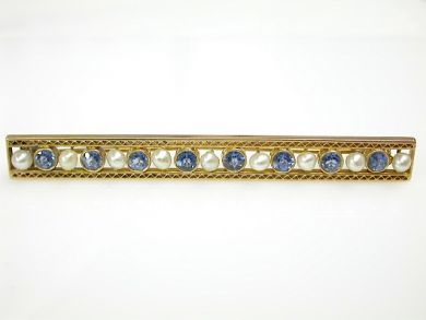 Vintage Sapphire and Pearl Bar Brooch