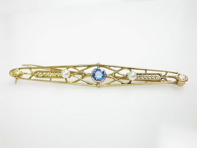 70887-March/Sapphire Bar Brooch Cynthia Findlay Antiques CFA1303316
