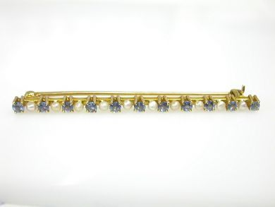 70887-March/Sapphire and Pearl Brooch Cynthia Findlay Antiques CFA1303317