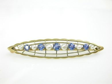 70887-March/Sapphire and pearl Brooch Cynthia Findlay Antiques CFA1303318