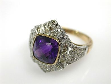 70925-April/Amethyst and Diamond Ring Cynthia Findlay Antiques CFA130417