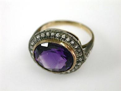 70925-April/Amethyst and Diamond Ring Cynthia Findlay Antiues  CFA1303297