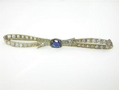 70925-April/Sapphire Bow Brooch Cynthia Findlay Antiques CFA1303327