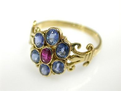 Vintage Sapphire and Ruby Cluster Ring