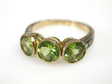 70925-April/Three Stone Peridot Ring Cynthia Findlay Antiques CFA130412