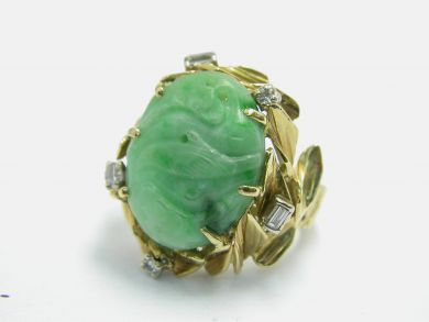 70926-April/Carved Jade Ring Cynthia Findlay Antiques 104037AN