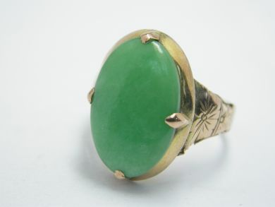 70926-April/Green Jade Ring Cynthia Findlay Antiques 104041AN
