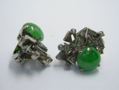 70926-April/Jade and Diamond Earrings Cynthia Findlay Antiques 104044AN