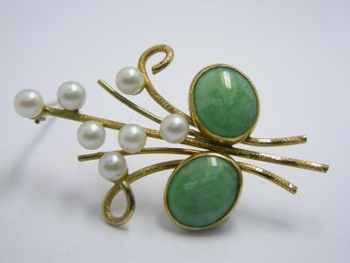 70926-April/Jade and Pearl Brooch Cynthia Findlay Antiques 103316AN