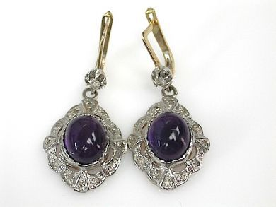 71027-April/Amethyst Drop Earrings Cynthia Findlay Antiques CFA1304100