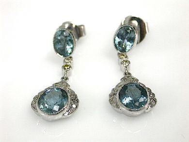 71027-April/Aquamarine Drop Earrings Cynthia Findlay Antiques CFA130499