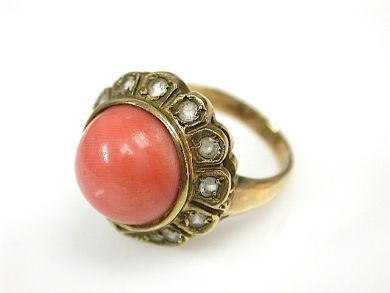 71027-April/Coral Ring Cynthia Findlay Antiques