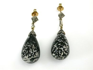 Vintage Moss Agate and Diamond Drop Earrings