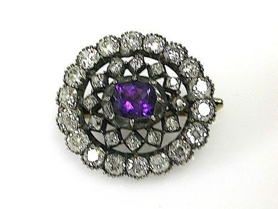 71174-April/Antique Amethyst and Diamond Brooch cfa1304189