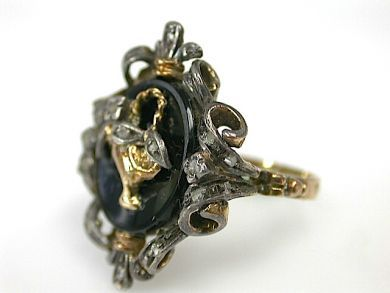 Antique Onyx and Diamond Ring
