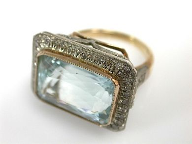 71174-April/Aquamarine Cocktail Ring Cynthia Findlay Antiques CFA1304197
