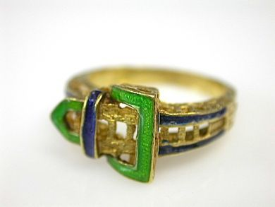 71174-April/Enamel Buckle Ring Cynthia Findlay Antiques CFA1304165