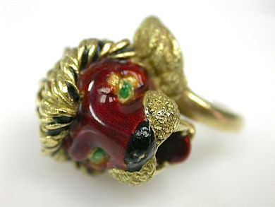 71174-April/Enamel Lion Head Ring Cynthia Findlay Antiques CFA1304172
